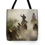 Herding Horses Oregon Tote Bag