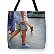 Here And There Caught In The Middle Tote Bag