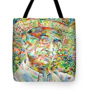 Hermann Hesse With Hat Watercolor Portrait Tote Bag