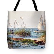 Heron And Sailboat Larger Sizes Tote Bag by Michael Thomas