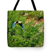 Heron Flies Over Oak Creek In Red Rock State Park Sedona Arizona Tote Bag
