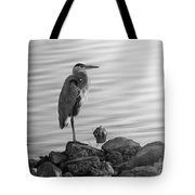 Heron In Black And White Tote Bag