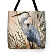 Heron In Tall Grass Tote Bag