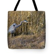Heron In The Grass Tote Bag