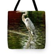 Heron On The Stick Tote Bag