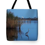 Heron Watching The Sunset Tote Bag