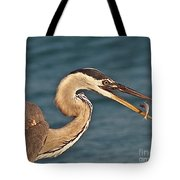 Heron With Catch Tote Bag