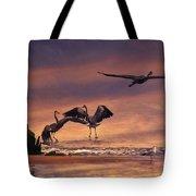 Herons At Sunset Tote Bag