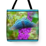 Hi Hello Greeting Card - Red Spotted Purple Butterfly Tote Bag