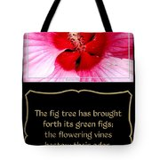Hibiscus Closeup With Bible Quote From Song Of Songs Tote Bag