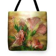 Hibiscus Sky - Peach And Yellow Tones Tote Bag