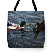 Hibred Ducks Swimming In Beech Fork Lake Tote Bag