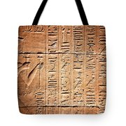 Hieroglyphs In The Temple Of Kalabsha  Tote Bag