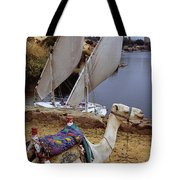High Angle View Of A Camel Resting Tote Bag