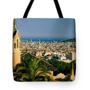 High Angle View Of A City, Barcelona Tote Bag