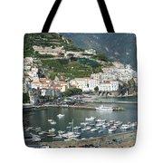 High Angle View Of A Town, Amalfi Tote Bag