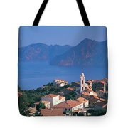 High Angle View Of A Town At The Coast Tote Bag