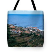 High Angle View Of Houses At A Coast Tote Bag