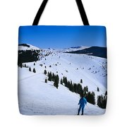 High Angle View Of Skiers Skiing, Vail Tote Bag