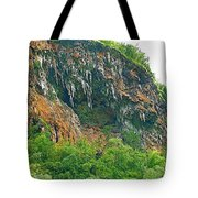 High Cliffs Along River Kwai In Kanchanaburi-thailand Tote Bag
