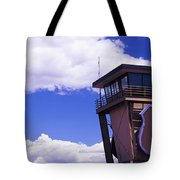 High Section View Of Railroad Tower Tote Bag