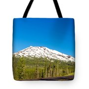 Highway Passing By Mountain Tote Bag
