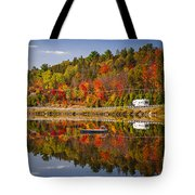 Highway Through Fall Forest Tote Bag
