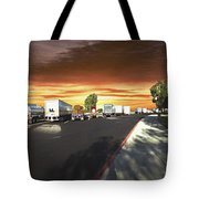 Highway Truck Stop Sunset Panorama Tote Bag