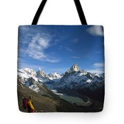 Hiker Admiring Cerro Torre And Fitzroy Tote Bag