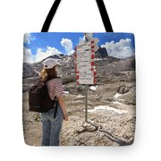 Hiker And Directions Tote Bag