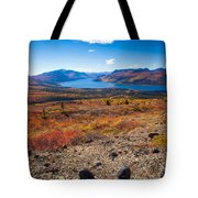 Hiker In Fall-colored Tundra Tote Bag