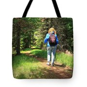 Hiker In The Forest Tote Bag