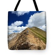 Hiker On Mountain Ridge Tote Bag