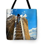 Hiker On Wooden Staircase Tote Bag