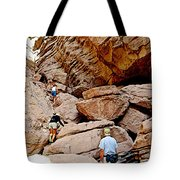 Hikers Enter Ladder Canyon From Big Painted Canyons Trail In Mecca Hills-ca  Tote Bag