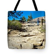 Hikers On Sentinel Dome Trail In Yosemite Np-ca  Tote Bag