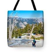 Hiking On Barren Rock On Sentinel Dome In Yosemite Np-ca Tote Bag