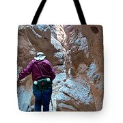 Hiking Through Narrow Slot Of Ladder Canyon Trail In Mecca Hills-ca Tote Bag