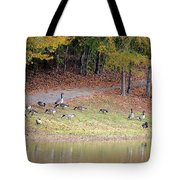 Hillside Of Canadian Geese Tote Bag