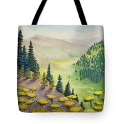 Hillside Of Yarrow Flowers With Pine Tress Tote Bag