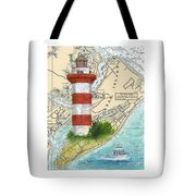Hilton Head Island Lighthouse Sc Nautical Chart Map Art Cathy Peek Tote Bag