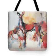 Hinds In Winter Tote Bag