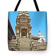 Hindu Temples In Bhaktapur Durbar Square In Bhaktapur-nepal Tote Bag