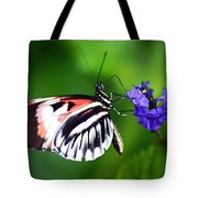 Hint Of Red Butterfly Tote Bag