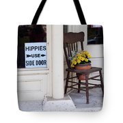 Hippies Use Side Door Tote Bag by Louise Heusinkveld