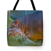 Hippo Taking A Plunge Tote Bag