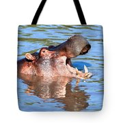 Hippo With Open Mouth In River. Serengeti. Tanzania Tote Bag