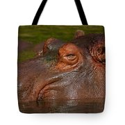 Hippopotamus With Its Head Just Above Water Tote Bag