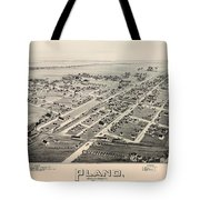 Historic Map Of Plano Texas 1891 Tote Bag