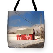 Historic Red Barn On A Snowy Winter Day Tote Bag